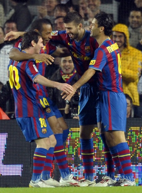 Celebracion de gol. Barcelona vs Sevilla