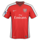 Primera equipación del Arsenal