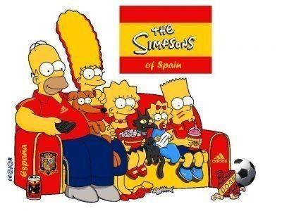 Los Simpsons con camisetas de equipos de futbol