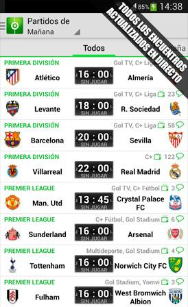 Resultados de Fútbol en Android